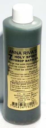 7 Holy Spirit Hyssop Bath Oil from Anna Riva 8 oz by Sage Cauldron. $7.56. Coming from the famous Anna Riva, This 7 Holy Spirit Hyssop Bath Oil has been especially formulated to bring the blessings and protection of Hyssop to yourself and your home. Sprinkle it within your ritual blessings to protect yourself from all evil. This is an 8 fl oz container of Hyssop Bath oil, for external use only.