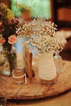 A centerpiece using baby's breath and a lazy susan.