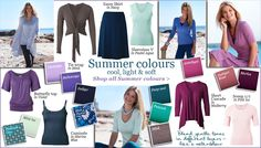 Summer colours: cool, light & soft - kettlewellcolours.co.uk ~ I can wear all of these colors (except mint ice and bright peacock):  lavender, medium purple, indigo, deep teal, mink, amethyst, merlot, pale pink.