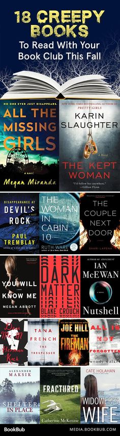 15 Creepy Books to Read with Your Book Club This Fall - 15 creepy books to read for Halloween. If you love thrillers and mysteries, these are for you!