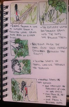 page 2 of 4 preliminary story board sketches and notes