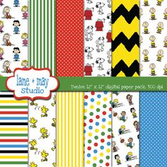 Classroom materials--Peanuts Gang colors & patterns to create a cozy, inviting learning environment.
