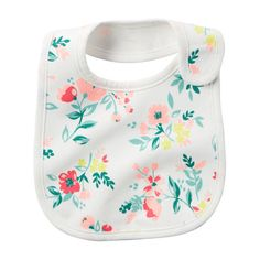 Floral Print Teething Bib ($4) ❤ liked on Polyvore featuring baby