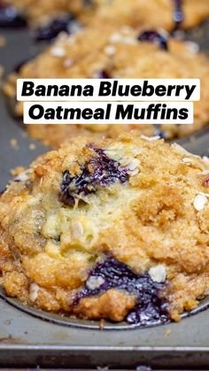 Homemade Blueberry Muffins, Blueberry Oatmeal Muffins, Breakfast Muffins, Blueberry Breakfast Recipes, Healthy Blueberry Desserts, Blueberry Banana Muffins Healthy, Healthy Blueberry Recipes, Homemade Breakfast, Blue Berry Muffins