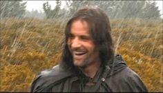 raining over happy Aragorn Aragorn Lotr, Legolas, Arwen, Fellowship Of The Ring, Lord Of The Rings, Viggo Mortensen Aragorn, Lotr Cast, J. R. R. Tolkien, Tolkien Books