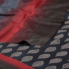 Weavers Studio Hand Printed Tussar Silk Saree 10001187 - AVISHYA.COM