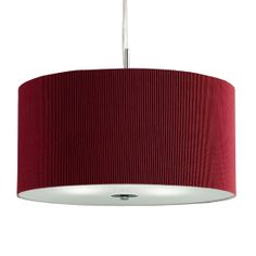 3 Light Red Drum Pendant With Frosted Glass Diffuser  Ceiling