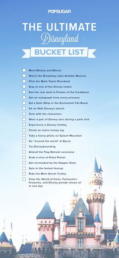 Upon entering a Disney park, every visitor has their own personal to-do list: ride this attraction, meet that character, eat thattreat. On top of everybody's list, however, is having fun! We put together a list of must-do Disney experiences (print it out here!) that go beyond the ordinary agenda of theme park rides and cartoon films. And once you've completed them all, you can undoubtedly call yourself a Disney fan. Read on to see how many Disney undertakings you've got left to experience…