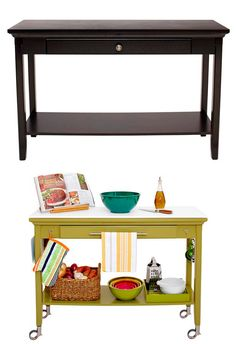 DIY Kitchen Island... I need to make a more square one.  Figure can use a end table.  Great idea!