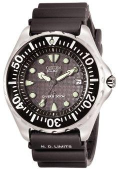 cool Citizen Men's BN0000-04H Eco-Drive Professional Diver Black Rubber Strap Watch  –