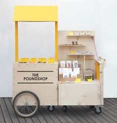 The Poundshop Mobile Stand // brand package identity pop up store Kiosk Design, Display Design, Retail Design, Store Design, Display Ideas, Design Shop, Stall Display, Mobile Shop, Mobile Stand
