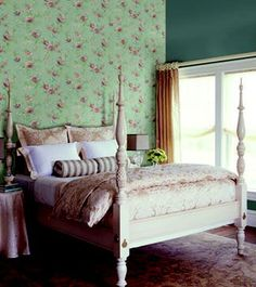 romantic bedroom decor idea with a wallpaper feature wall behind the bed vintage floral country chic bedroom #bedroom #decorating #ideas