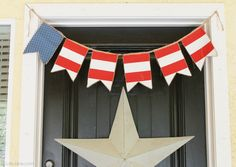 Stars  Stripes burlap and fabric banner #4thofJuly #bunting