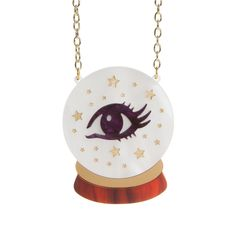Our Crystal Ball necklace is tall and is made from two layers of laser cut, hand-assembled acrylic. It hangs from a chunky plated chain. Laser Cut Jewelry, Purple Marble, Laser Cut Acrylic, Ball Necklace, Crystal Ball, Laser Cutting, Plating, Fashion Jewelry, Crystals