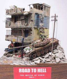 Road to Hell by Zhendong Li Model Tree, Modeling Techniques, Disney Fantasy, Military Modelling, Military Diorama, Modern Warfare, Model Building, Art Model, Plastic Models