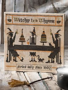 Witchy Tea Thyme by ThePrimitiveHare in the Halloween Issue of JUST CROSS STITCH