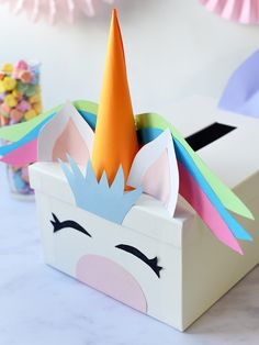 Turn a simple white card box into something magical with our tutorial for a DIY Unicorn Valentine& Card Box! Your kids will love it. Valentine Box Unicorn, Kinder Valentines, Valentine Day Boxes, Valentine Day Crafts, Valentine Party, Diy Valentines Cards, Homemade Valentines, Unicorn Birthday, Diy Card Box