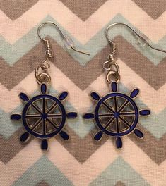 Enamel Blue Silver SHIP STEERING WHEEL Earrings Fish Hook | Etsy Fish Hook Earrings, Dangle Earrings, Unisex Gifts, Blue And Silver, Happy Shopping, Jewerly, Dangles, Enamel, Charmed