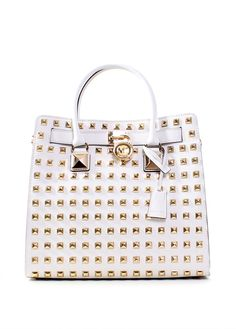 michael kors purse white with studs - I just bought an mk purse that was much less but I don't think I'd ever let this thing leave my side if I had it #theperfectpurse