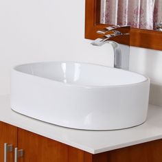 Elite Bathroom White Ceramic Oval Sink with Chrome Pop up drain Contemporary White Bathrooms, Deep Sink, Refinish Kitchen Cabinets, White Sink, Bathroom Countertops, House Paint Exterior, Bathroom Inspiration, Small Bathroom, Home Remodeling