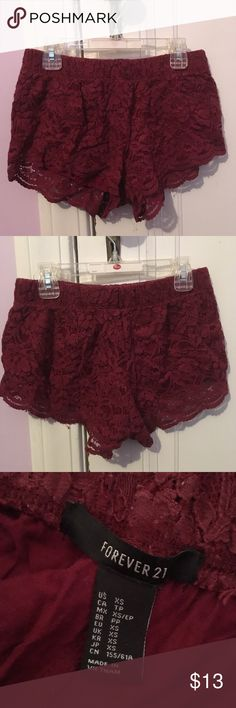 Forever 21 maroon lace shorts Forever 21 lace maroon shorts. Size XS. Worn only a few times. Forever 21 Shorts