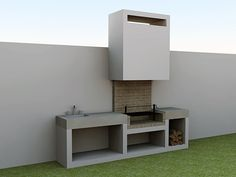 This amazing photo is an extremely inspiring and spectacular idea Outdoor Barbeque, Outdoor Kitchen Patio, Outdoor Kitchen Design, Design Barbecue, Grill Design, Patio Design, Patio Grill, Backyard Patio, Parrilla Exterior