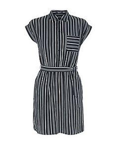 Teens Black Stripe Short Sleeve Shirt Dress | New Look