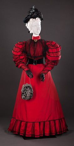 Etiquetado1890, Belle epoque, gown, red, seda, silk, vestido
