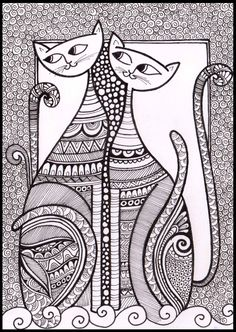 Cats_02 for Zentangle Card series ( Doodle, Illustration, Line drawings, Mandala, patterns )
