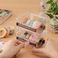 Washi tape dispenser Storage Case / Masking Tape Organizer /