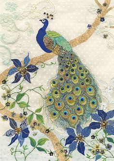 BugArt ~ Clematis Peacock. Amy's Cards *NEW* Original embroideries by Amy Butcher. Cards designed by Jane Crowther.