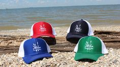 These colors just pop on the new trucker hats by Coastal Wetlands Collection!