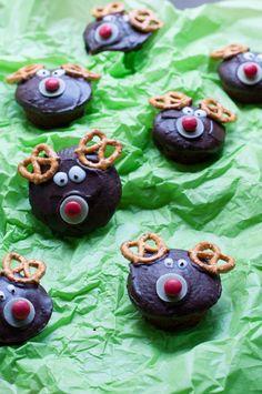 Weihnachtliche Rentier-Muffins Marzipan, Cupcakes, Sweet, Desserts, Recipes, Food, Winter, Reindeer, Christmas