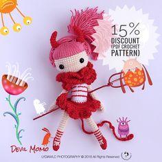 Momo Devil  15% Discount from Oct 16 2017 to Nov 1 2017 (PDF crochet pattern)  #halloween #halloweendoll #crochet #crochetdoll