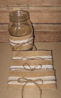 diy mason jar sleeves summer wedding rustic wedding cottage decor from Burlap Mason Jars, Mason Jar Crafts, Mason Jar Diy, Summer Wedding, Diy Wedding, Rustic Wedding, Wedding Ideas, Wedding Photos, Wedding Colors
