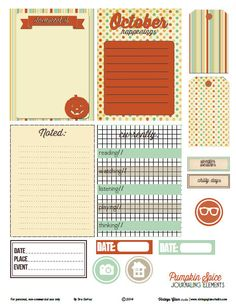 Pumpkin Spice Journaling Elements   Free Printable from Vintage Glam Studio ~~ perfect for #Project Life