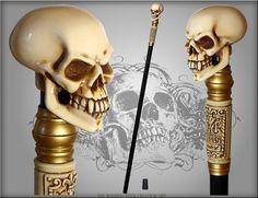 BÂTON de marche crâne gothique auteurs fait Bone effet par GCArtis