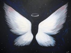 Cancer kickers angel wings painting with cancer ribbon in for Painting with a twist lexington