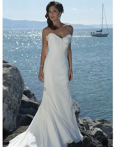 Chiffon Sweetheart Ruched Trumpet Beach Wedding Dress