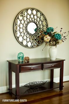 Delightful Foyer Tables And Mirrors Image Decor in Entry Traditional design ideas with Delightful accent color cream espresso finish foyer foyer table round mirror taupe teal