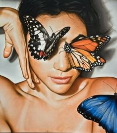 """""""Butterflies"""" - Victor Rodriguez, 2010 {contemporary artist #hyperreal fantasy female head décolletage woman face photorealism portrait painting detail} <3"""