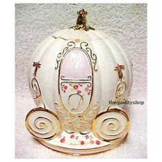*CINDERELLA'S COACH ~ Cookie Jar: Cinderella's fairy godmother transformed a pumpkin into her beautiful carriage, so it seems only right that this jar should house some phenomenal pumkin cookies, or chocolate chip cookies!