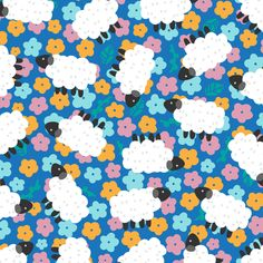 Garden of Sheep fabric by ellodesign on Spoonflower - custom fabric