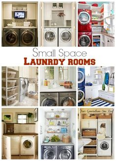 Small space laundry room ideas -- Alex is over the moon at having his own washer and dryer space. I'm over the moon at decorating it. :D