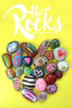 Hot Rock-Fun Kid's activity - A girl and a glue gun Kids will love decorating these rocks with crayons! Perfect for all those leftover broken crayons! Old Crayon Crafts, Melted Crayon Crafts, Crayon Art, Melted Crayons, Summer Crafts, Fun Crafts, Crafts For Kids, Arts And Crafts, Creative Crafts