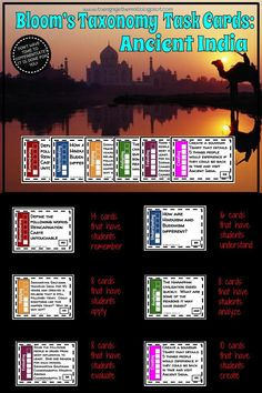 Bloom's Taxonomy Task Cards: Ancient India Teaching Rules, Teaching Tools, Teaching Resources, Study History, World History, Class Door Decorations, Social Studies Resources, Blooms Taxonomy, World Geography