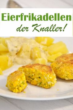 Egg cakes - the cracker! These meatballs only consist of eggs, some breadcrumbs and parsley - so delicious! Great for a cold buffet - or with potatoes and mustard sauce (recipe is also listed), unconditional try-out recommendation Egg patties. Crock Pot Recipes, Low Carb Chicken Recipes, Veggie Recipes, Seafood Recipes, Low Carb Recipes, Snack Recipes, Seafood Pasta, Brunch Recipes, Pumpkin Recipes