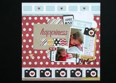 Simple Stories - Say Cheese - 12 x 12 page using pocket cards and embellishments.