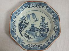 18TH C ENGLISH DELFT POTTERY HEXAGONAL BLUE AND WHITE CHINOISERIE PLATE - 1  £89