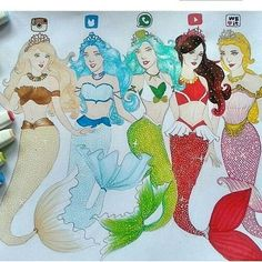 Which one is your favorite fashion mermaid 🧜‍♀️ Amazing Drawings, Beautiful Drawings, Cute Drawings, Amazing Art, App Drawings, Disney Drawings, Art Sketches, Chibi Kawaii, Social Media Art